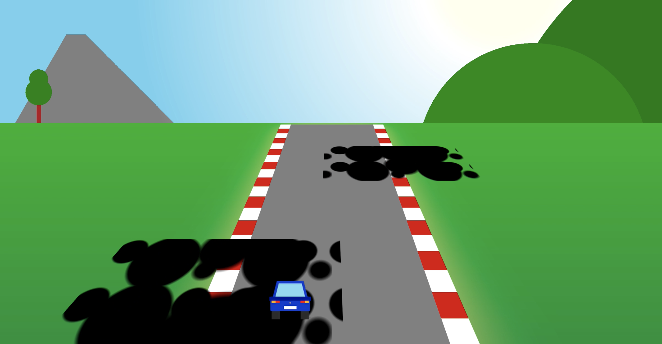 Screenshot of the game with the car moving on top of a grease stain and no game over message
