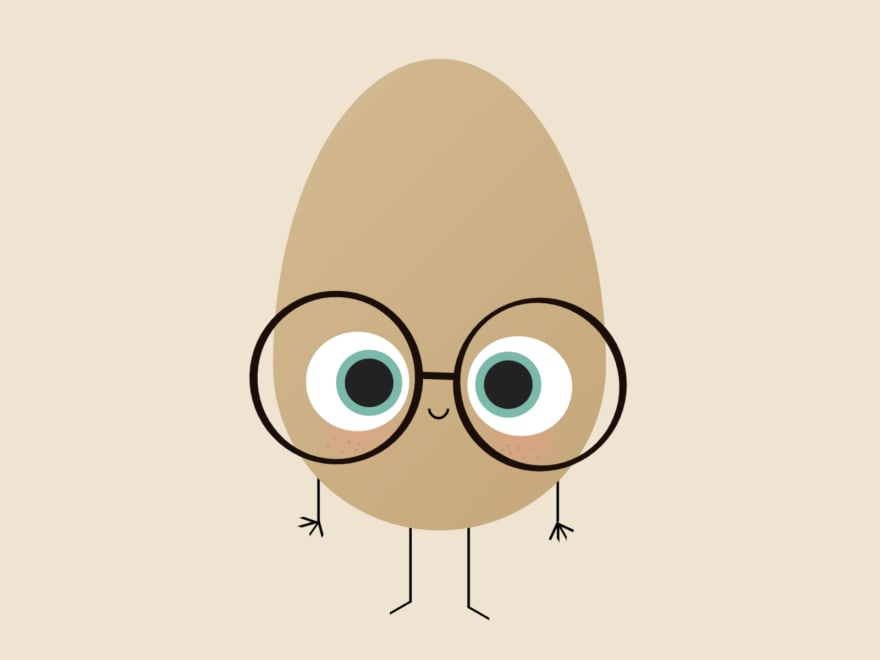 Cartoon of a smiling egg with arms and legs, wearing glasses