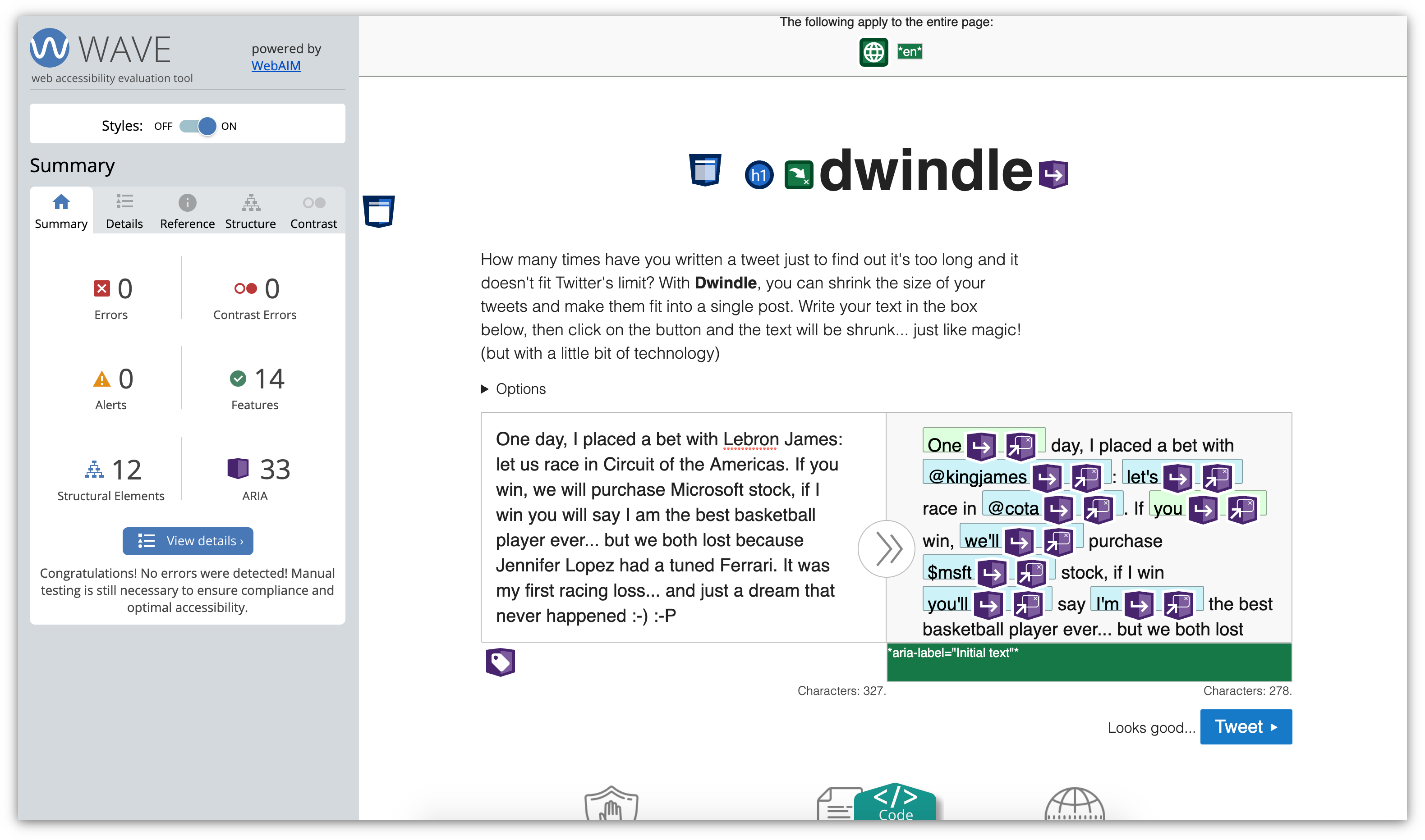 Screenshot of Dwindle showing WebAIM wave results